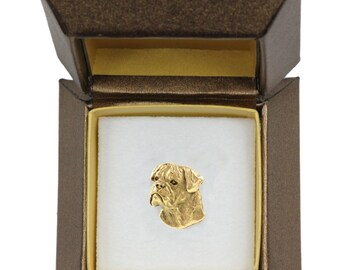 NEW, Bullmastiff, dog pin, in casket, gold plated, limited edition, ArtDog