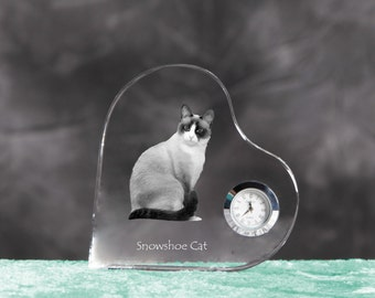 Snowshoe cat- crystal clock in the shape of a heart with the image of a pure-bred cat.