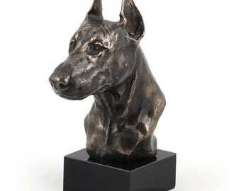 Doberman (cropped), dog marble statue, limited edition, ArtDog. Made of cold cast bronze. Perfect gift. Limited edition
