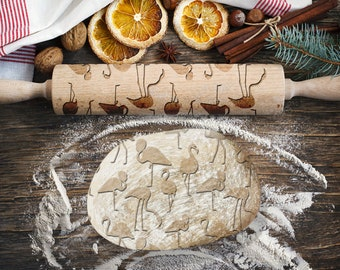 FLAMINGOS. Engraved rolling pin for Cookies, Embossing Rollingpin, Laser Engraved Rolling-pin. Decorating Roller