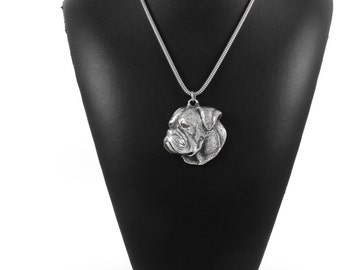 NEW, American Bulldog, dog necklace, silver cord 925, limited edition, ArtDog
