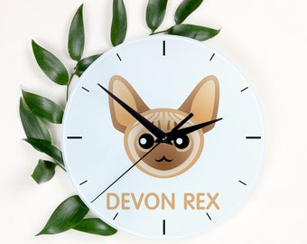 A clock with a Devon rex cat. A new collection with the cute Art-Dog cat