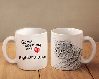 "Highland Lynx - mug with a cat and description:""Good morning and love..."" High quality ceramic mug. Dog Lover Gift, Christmas Gift"