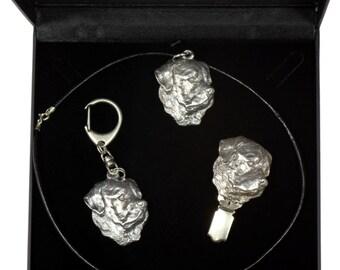 NEW, Rottweiler, dog keyring, necklace and clipring in casket, DELUXE set, limited edition, ArtDog . Dog keyring for dog lovers