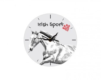 Irish Sport Horse, Free standing MDF floor clock with an image of a horse.