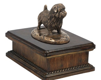 Exclusive Urn for dog's ashes with a Norfolk Terrier statue, ART-DOG. New model Cremation box, Custom urn.