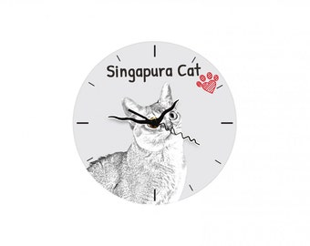 Singapura cat, Free standing MDF floor clock with an image of a cat.