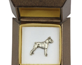 NEW, Boxer (body), dog pin, in casket, limited edition, ArtDog
