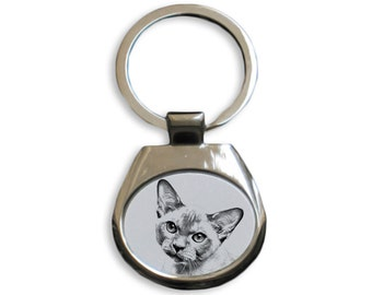 Burmese cat - NEW collection of keyrings with images of purebred cats, unique gift, sublimation