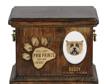 Urn for dog ashes with ceramic plate and sentence - Geometric Cairn Terrier, ART-DOG. Cremation box, Custom urn.