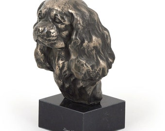 King Charles Spaniel, dog marble statue, limited edition, ArtDog. Made of cold cast bronze. Perfect gift. Limited edition