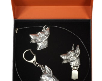 NEW, Dobermann, dog keyring, necklace and clipring in casket, PRESTIGE set, limited edition, ArtDog . Dog keyring for dog lovers
