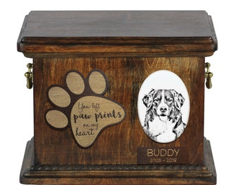 Urn for dog's ashes with ceramic plate and description - Bernese Mountain Dog, ART-DOG Cremation box, Custom urn.