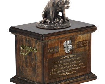 Rottweiler mother - Exclusive Urn for dog ashes with a statue, relief and inscription. ART-DOG. Cremation box, Custom urn.