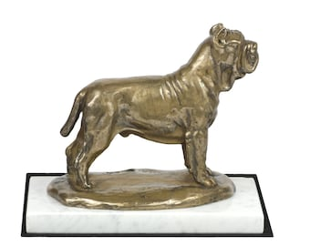 Neapolitan Mastiff, dog white marble base statue, limited edition, ArtDog. Made of cold cast bronze. Perfect gift. Limited edition