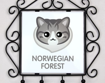 A key rack, hangers with Norwegian Forest cat. A new collection with the cute Art-dog cat