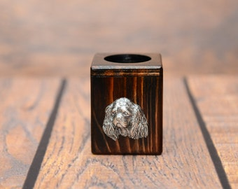 Cavalier King Charles Spaniel - Wooden candlestick with dog, souvenir, decoration, limited edition, Collection