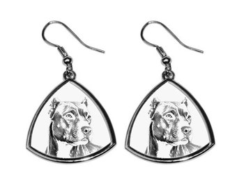 American Pit Bull Terrier - NEW collection of earrings with images of purebred dogs, unique gift