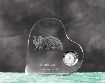 Selkirk rex longhaired- crystal clock in the shape of a heart with the image of a pure-bred cat.