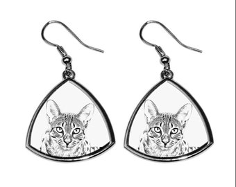 Egyptian Mau, collection of earrings with images of purebred cats, unique gift. Collection!