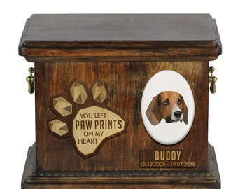 Urn for dog ashes with ceramic plate and sentence - Geometric Beagle, ART-DOG. Cremation box, Custom urn.