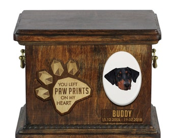Urn for dog ashes with ceramic plate and sentence - Geometric Dobermann uncropped, ART-DOG. Cremation box, Custom urn.