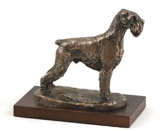 Schnauzer (uncropped), dog wooden base statue, limited edition, ArtDog