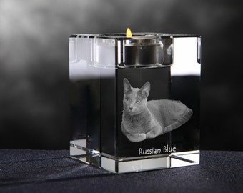 Russian blue, crystal candlestick with cat, souvenir, decoration, limited edition, Collection