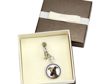 Whippet. Keyring, keychain with box for dog lovers. Photo jewellery. Men's jewellery. Handmade.