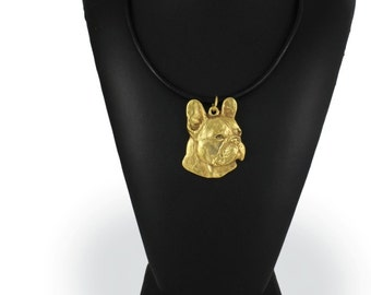 French Bulldog (right-oriented), millesimal fineness 999, dog necklace, limited edition, ArtDog