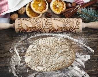 MANDALA HEART. Engraved rolling pin for Cookies, Embossing Rollingpin, Laser Engraved Rolling-pin. Decorating Roller