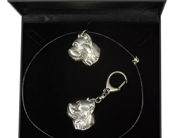 NEW, Cane Corso, dog keyring and necklace in casket, DELUXE set, limited edition, ArtDog . Dog keyring for dog lovers