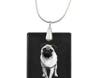 Mops, Dog Crystal Pendant, SIlver Necklace 925, High Quality, Exceptional Gift, Collection!