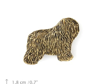 Bobtail, millesimal fineness 999, dog pin, limited edition, ArtDog
