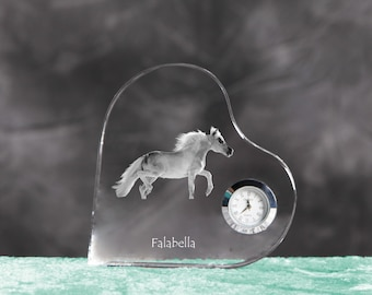 Falabella- crystal clock in the shape of a heart with the image of a pure-bred horse.