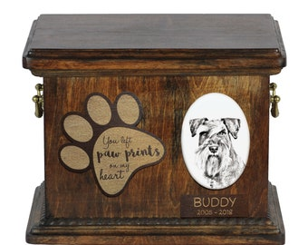 Urn for dog's ashes with ceramic plate and description - Schnauzer, ART-DOG Cremation box, Custom urn.