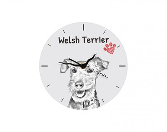Welsh Terrier, Free standing MDF floor clock with an image of a dog.