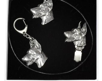 NEW, Dobermann, dog keyring, necklace and clipring in casket, ELEGANCE set, limited edition, ArtDog . Dog keyring for dog lovers