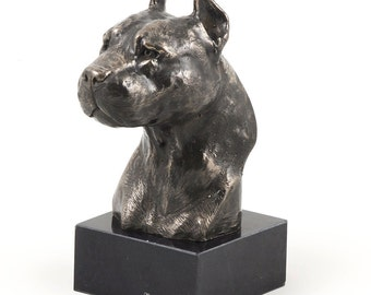 American Staffordshire Terrier, dog marble statue, limited edition, ArtDog. Made of cold cast bronze. Solid, perfect gift. Limited edition.