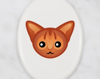 A ceramic tombstone plaque with a Abyssinian cat. Art-Dog cute cat