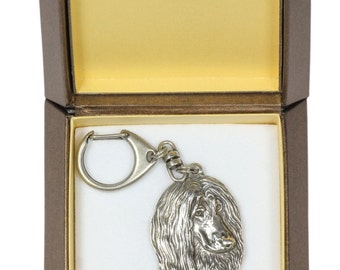 NEW, Afghan Hound, dog keyring, key holder, in casket, limited edition, ArtDog . Dog keyring for dog lovers