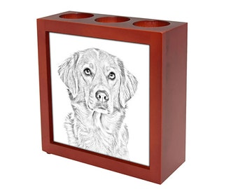 Nova Scotia duck tolling retriever - Wooden stand for candles/pens with the image of a dog ! NEW COLLECTION!