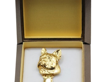 NEW, French Bulldog, millesimal fineness 999, dog clipring, in casket, dog show ring clip/number holder, limited edition, ArtDog