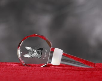 Toyger, Crystal Wine Stopper with cat, Wine and Cat Lovers, High Quality, Exceptional Gift. New Collection