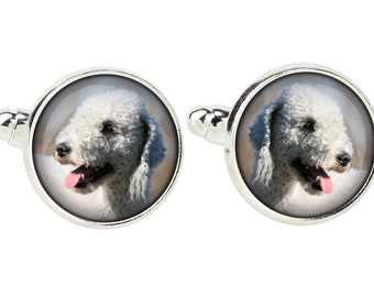 Bedlington Terrier. Cufflinks for dog lovers. Photo jewellery. Men's jewellery. Handmade