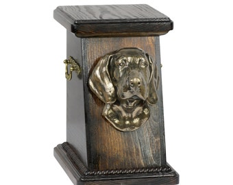Urn for dog's ashes with a Weimaraner, ART-DOG Cremation box, Custom urn.