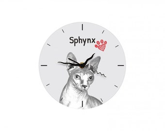 Sphynx cat, Free standing MDF floor clock with an image of a cat.