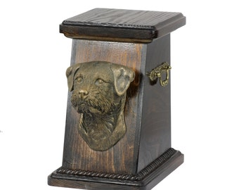 Urn for dog's ashes with a Border Terrier statue, ART-DOG Cremation box, Custom urn.