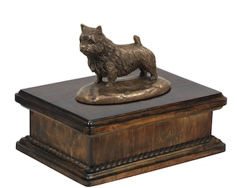 Exclusive Urn for dog's ashes with a Norwich Terrier statue, ART-DOG. New model Cremation box, Custom urn.