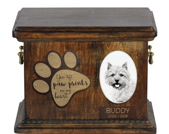 Urn for dog's ashes with ceramic plate and description - Norwich Terrier, ART-DOG Cremation box, Custom urn.